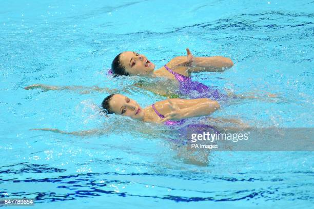 San Marino's Cristina Nicolini and Elina Tini in action in the Duets Technical Routine