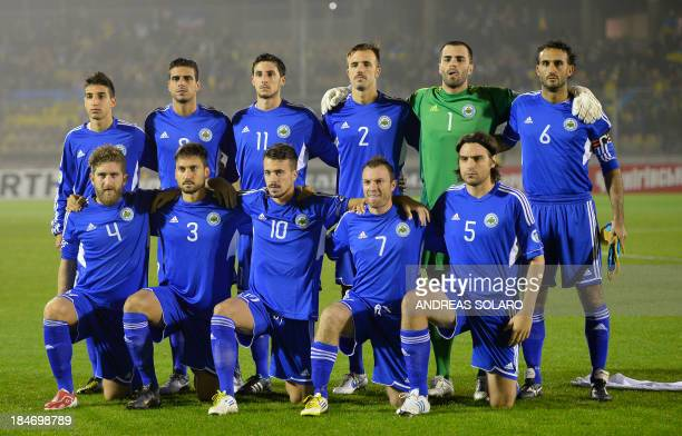 San Marino's football team poses before the FIFA World Cup 2014 qualifying football match San Marino vs Ukraine on October 15 2013 at Olympic stadium...