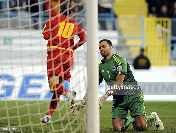 San Marino's goalkeeper Aldo Simoncini react after conceding a goal scored by Andrija Delibasic of Montenegro during the FIFA World Cup 2014...