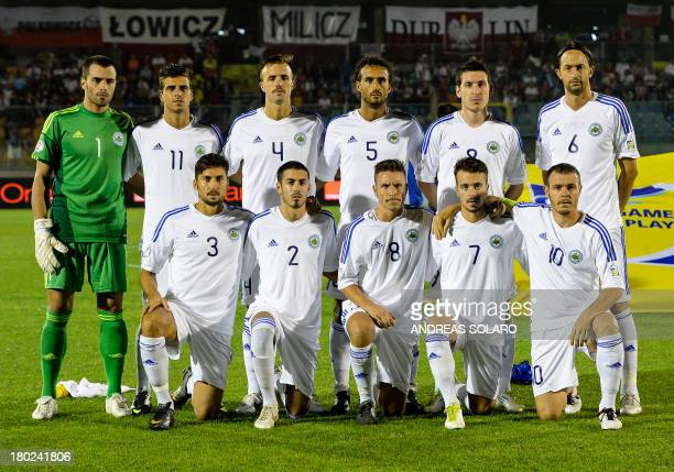 San Marino's national football team poses before the FIFA World Cup 2014 qualifying football match San Marino vs Poland on September 10 2013 at...