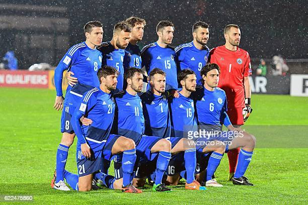 San Marino's players pose prior to the World Cup 2018 qualifying soccer match San Marino vs Germany at the San Marino stadium in Serravalle on...