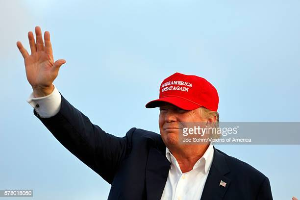 San Pedro CA September 15 Donald Trump 2016 Republican Presidential Candidate Waves During A Rally Aboard The Battleship USS Iowa In San Pedro Los...
