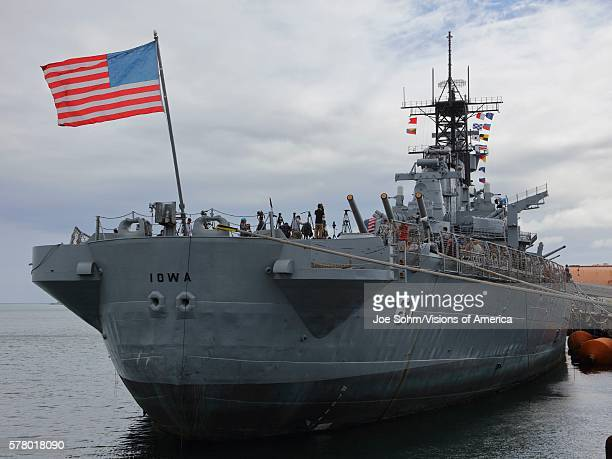 San Pedro CA September 15 Us Flag Flies On Battleship USS Iowa On Display At The Port Of Los Angeles California USA
