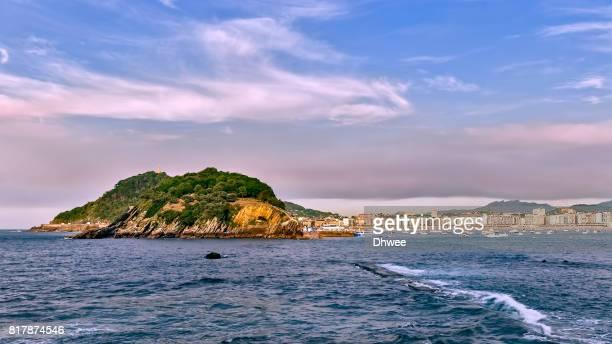 San Sebastian Donostia With Its Santa Clara Island And Mont Urgull