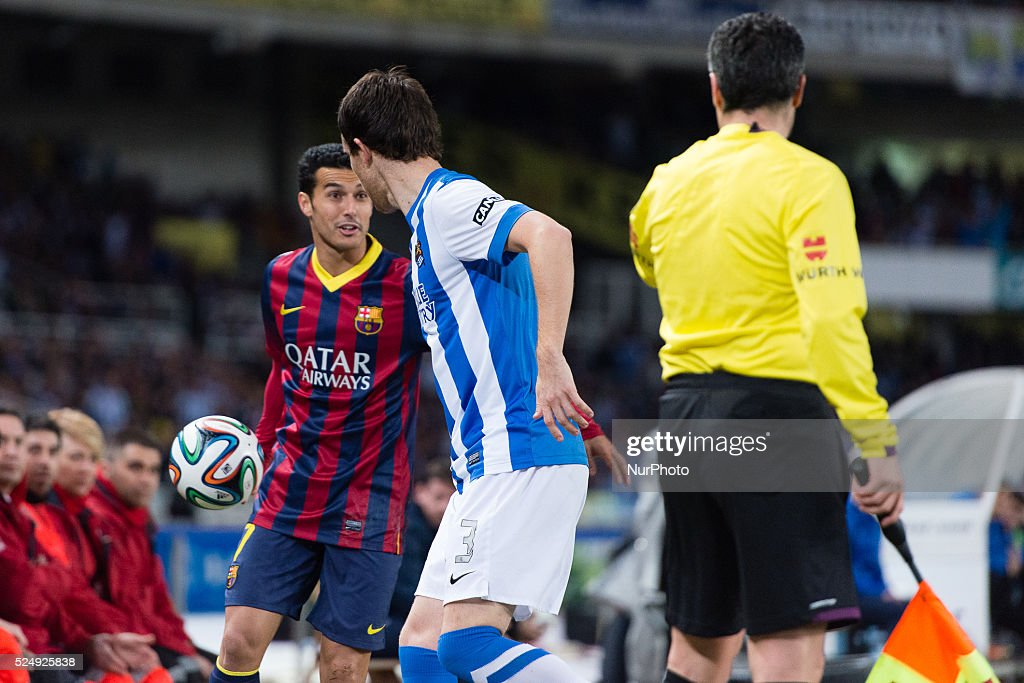 12/02/14 San Sebastian Pedro and Mikel Gonzalez during spanish Copa del Rey soccer semifinal match between Real Sociedad and FC Barcelona played at...