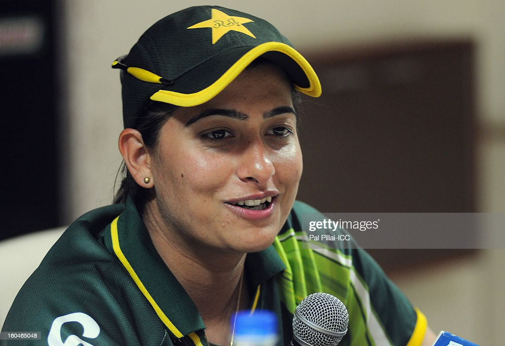 Sana Mir captain of Pakistan addresses a press conference at the end of second match of ICC Womens World Cup between Australia and Pakistan, played at the Barabati stadium on February 1, 2013 in Cuttack, India.