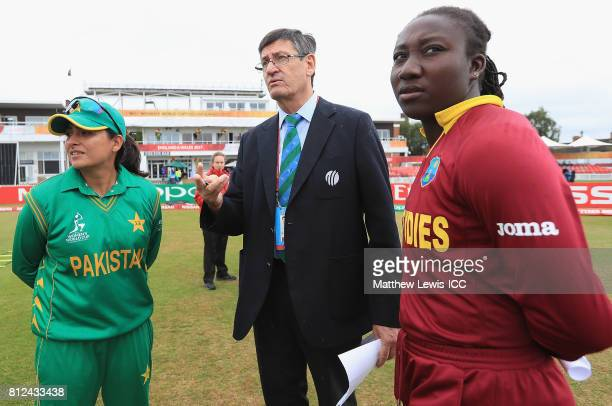 Sana Mir Captain of Pakistan and Stafanie Taylor Captain of the West Indies talk to Steve Bernard Match Referee ahead of the ICC Women's World Cup...