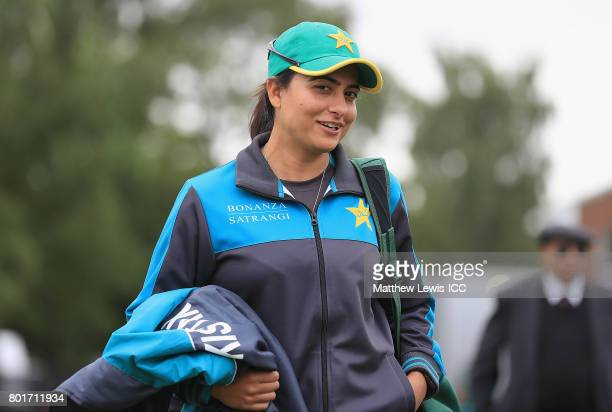 Sana Mir Captain of Pakistan arrives ahead of the ICC Women's World Cup 2017 match between England and Pakistan at Grace Road on June 27 2017 in...