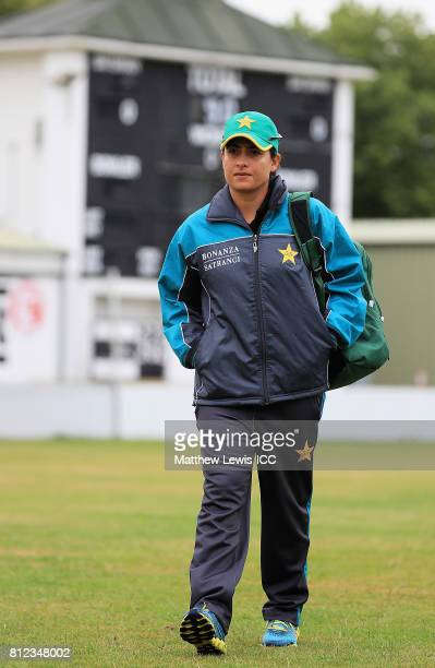 Sana Mir Captain of Pakistan arrives ahead of the ICC Women's World Cup 2017 match between West Indies and Pakistan at Grace Road on July 11 2017 in...