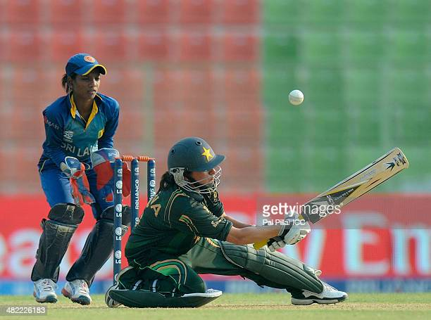 Sana Mir captain of Pakistan bats during the ICC Women's World Twenty20 7th/8th place ranking match between Sri Lanka Women and Pakistan Women played...