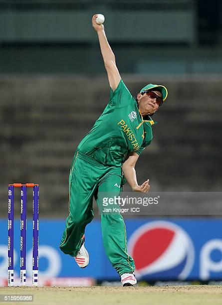 Sana Mir Captain of Pakistan bowls during the Women's ICC World Twenty20 India 2016 match between West Indies and Pakistan at MA Chidambaram Stadium...