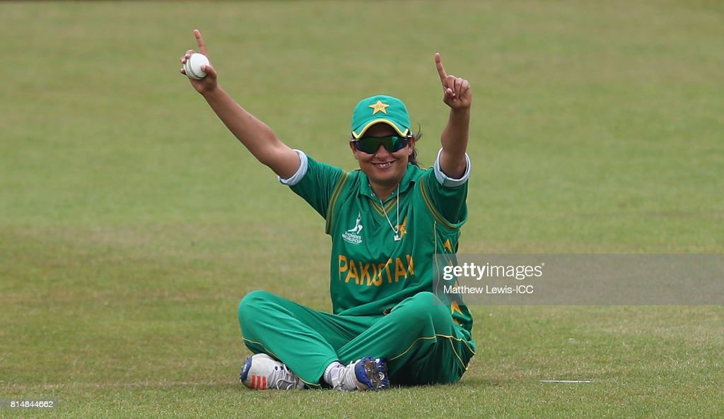 Sana Mir, captain of Pakistan celebrates catching Chamari Athapaththu of Sri Lanka, off the bowling of Kainat Imtiaz during the ICC Women's World Cup 2017 match between Pakistan and Sri Lanka at Grace Road on July 15, 2017 in Leicester, England.