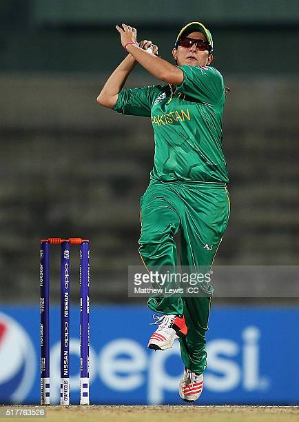 Sana Mir Captain of Pakistan in action during the Women's ICC World Twenty20 India 2016 match between England and Pakistan at Chidambaram on March 27...