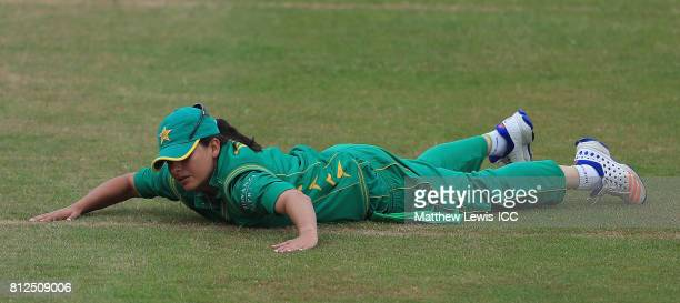 Sana Mir Captain of Pakistan looks on after a miss field during the ICC Women's World Cup 2017 match between West Indies and Pakistan at Grace Road...