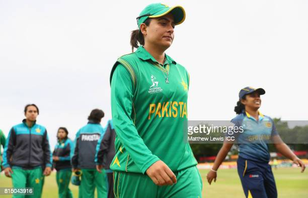 Sana Mir captain of Pakistan looks on after her team lost to Sri Lanka during the ICC Women's World Cup 2017 match between Pakistan and Sri Lanka at...