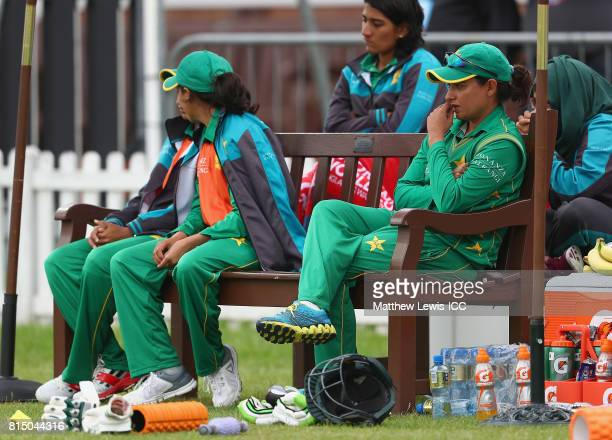 Sana Mir captain of Pakistan looks on from the dugout during the ICC Women's World Cup 2017 match between Pakistan and Sri Lanka at Grace Road on...