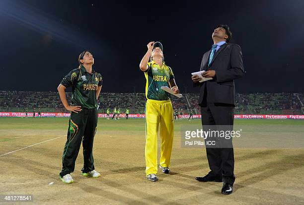 Sana Mir captain of Pakistan Meg Lanning captain of Australia and ICC match referee Javagal Srinath during the toss before the start of the ICC...