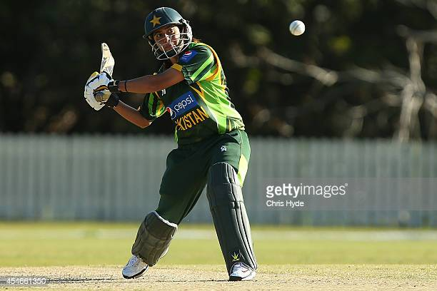 Sana Mir of Pakistan bats during the women's international series T20 match between the Australian Southern Stars and Pakistan at Kerrydale Oval on...