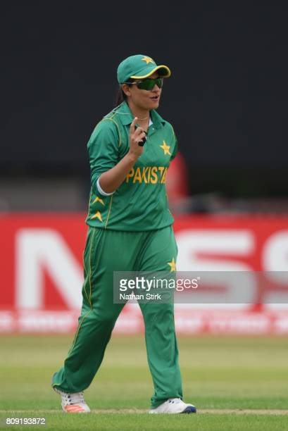 Sana Mir of Pakistan celebrates during the ICC Women's World Cup 2017 match between Pakistan and Australia at Grace Road on July 5 2017 in Leicester...