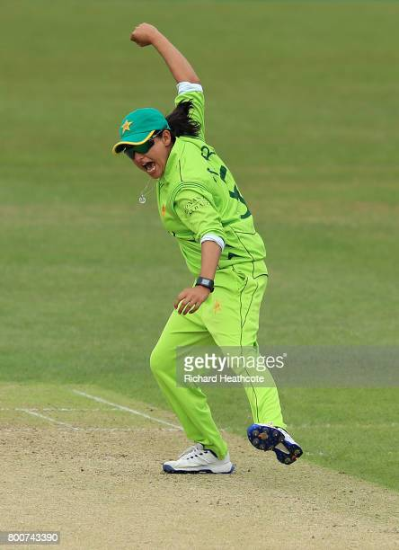 Sana Mir of Pakistan celebrates taking the wicket of Lizelle Lee of South Africa during the ICC Women's World Cup group match between Pakistan and...