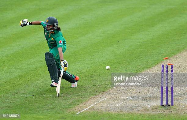 Sana Mir of Pakistan is run out during the second Women's Royal London ODI match between England and Pakistan at New Road on June 22 2016 in...