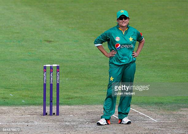 Sana Mir of Pakistan looks despondent during the 1st Natwest International T20 played between England Women and Pakistan Women at The County Ground...