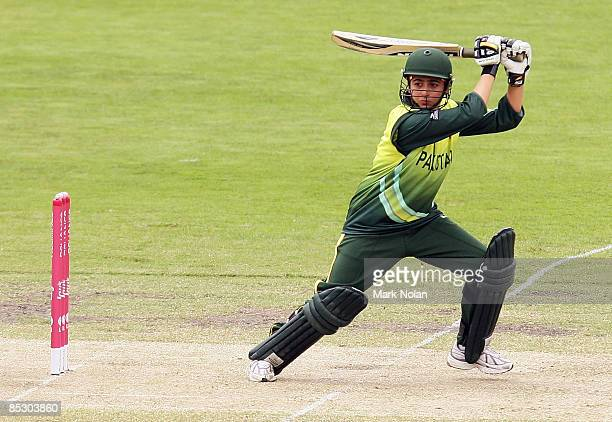 Sana Mir of Pakistan plays a cut shot during the ICC Women's World Cup 2009 round two group stage match between Sri Lanka and Pakistan at Manuka Oval...