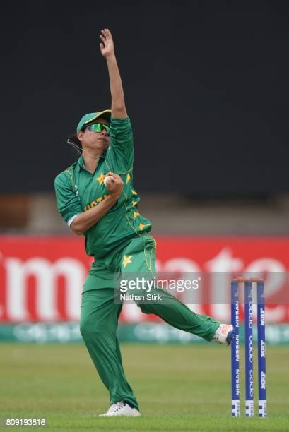 Sana Mir of Pakistan runs into bowl during the ICC Women's World Cup 2017 match between Pakistan and Australia at Grace Road on July 5 2017 in...