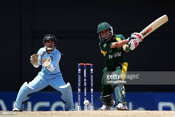 Sana Mir of Pakistan watched by Sulakshana Naik of India during the ICC T20 Women's World Cup Group B match between India and Pakistan at Warner Park...
