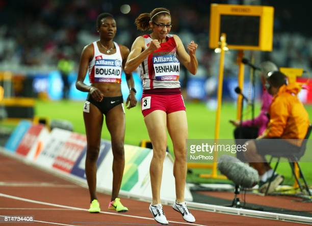 Sanaa Benhama celebrates after Women's 1500m T13 Final during IPC World Para Athletics Championships at London Stadium in London on July 14 2017