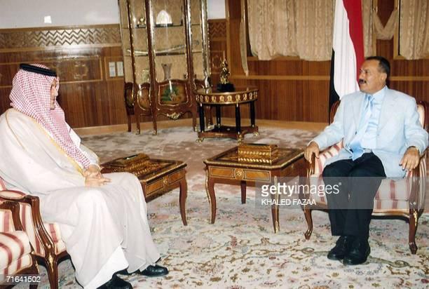 Yemeni president Ali Abdullah Saleh talks with Saudi Foreign Minister Saud alFaisal during a meeting in Sanaa late 13 August 2006 The minister said...