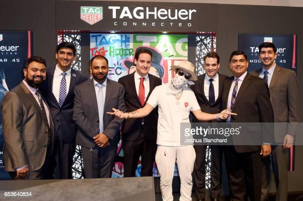 Sanat Bhindi Ashwin Bhindi Nikhil Bhindi TAG Heuer North America Vice President of Sales Roland Enderli artist Alec Monopoly TAG Heuer North America...