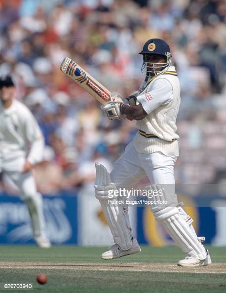 Sanath Jayasuriya batting for Sri Lanka during his innings of 213 in the Only Test match between England and Sri Lanka at The Oval London 28th August...