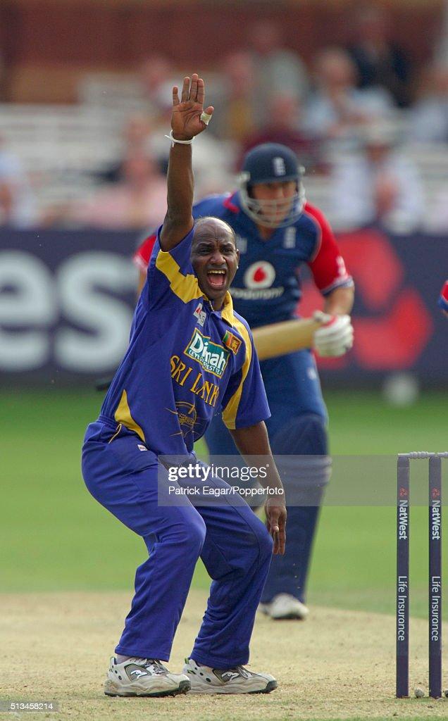 Sanath Jayasuriya of Sri Lanka appeals during the NatWest Series One Day International between England and Sri Lanka at Lord's London 17th June 2006...