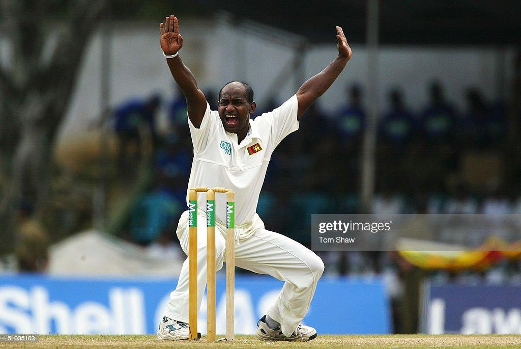 Sanath Jayasuriya of Sri Lanka appeals for a wicket during the third day of the second test match between Sri Lanka and England at the Asgiriya...