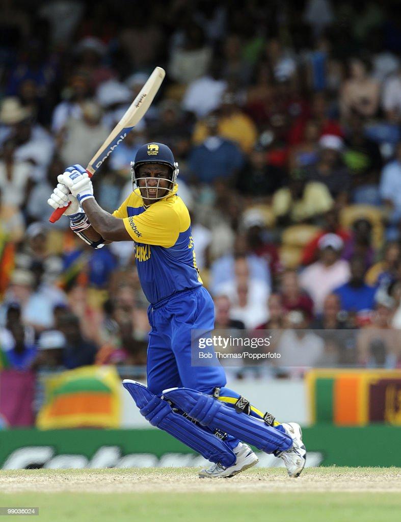 Sanath Jayasuriya of Sri Lanka bats during the ICC World Twenty20 Super Eight match between West Indies and Sri Lanka at the Kensington Oval on May 7...