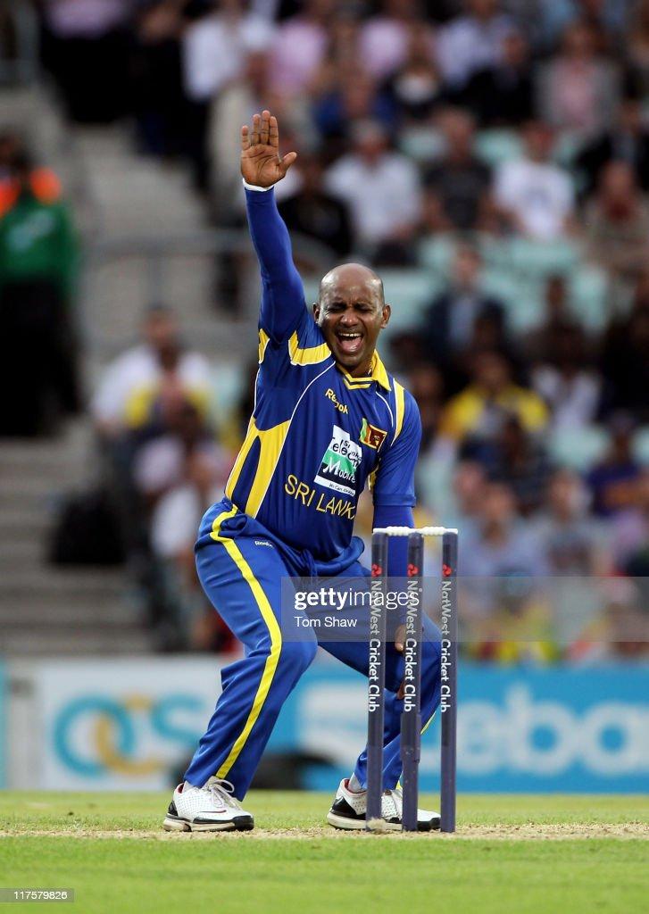 Sanath Jayasuriya of Sri Lanka celebrates the wicket of Ian Bell during the first Natwest One Day International between England and Sri Lanka at The...