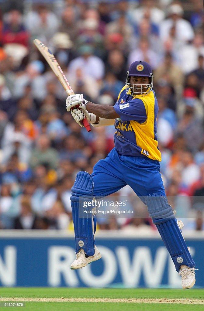 Sanath Jayasuriya of Sri Lanka edges to be caught by Rahul Dravid off Ajit Agarkar during the NatWest Series One Day International between India and...