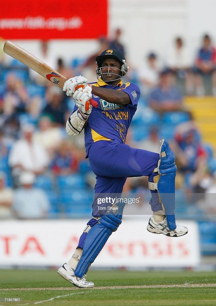 Sanath Jayasuriya of Sri Lanka hits out during the fifth NatWest One Day International match between England and Sri Lanka at Headingley on July 1...