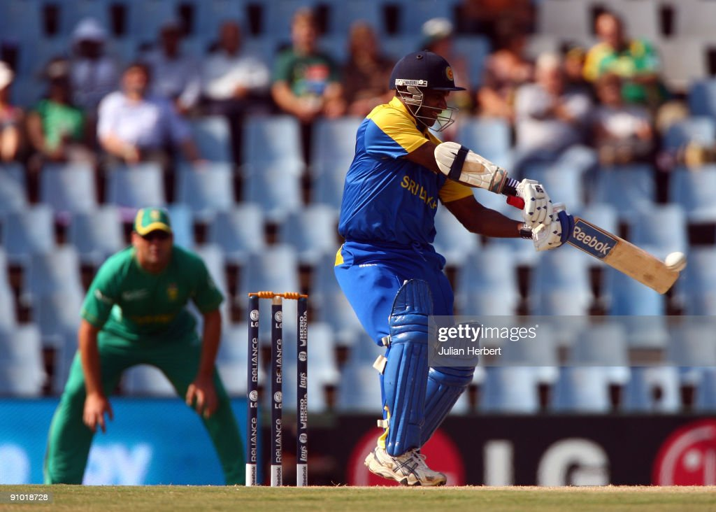 <a gi-track='captionPersonalityLinkClicked' href=/galleries/search?phrase=Sanath+Jayasuriya&family=editorial&specificpeople=206914 ng-click='$event.stopPropagation()'>Sanath Jayasuriya</a> of Sri Lanka hits out during The ICC Champions Trophy Group B match between South Africa and Sri Lanka played at Super Sport Park on September 22, 2009 in Centurion, South Africa.