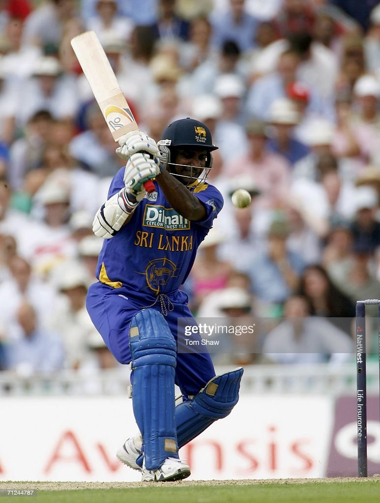 Sanath Jayasuriya of Sri Lanka hits out during the NatWest One Day International match between England and Sri Lanka at the Oval on June 20 2006 in...
