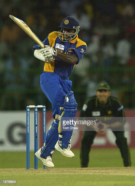 Sanath Jayasuriya of Sri Lanka hits out during the Sri Lanka v Pakistan opening match of the ICC Champions Trophy at the R Premadasa Stadium Colombo...