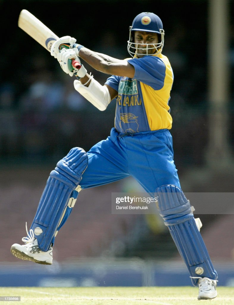 Sanath Jayasuriya of Sri Lanka hits out during the VB series One Day International match played between England and Sri Lanka held at the Sydney...