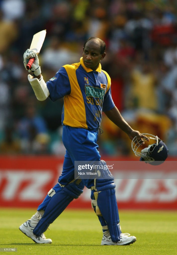 Sanath Jayasuriya of Sri Lanka leaves the field after being dismissed for 122 during the VB series One Day match between Australia and Sri Lanka held...