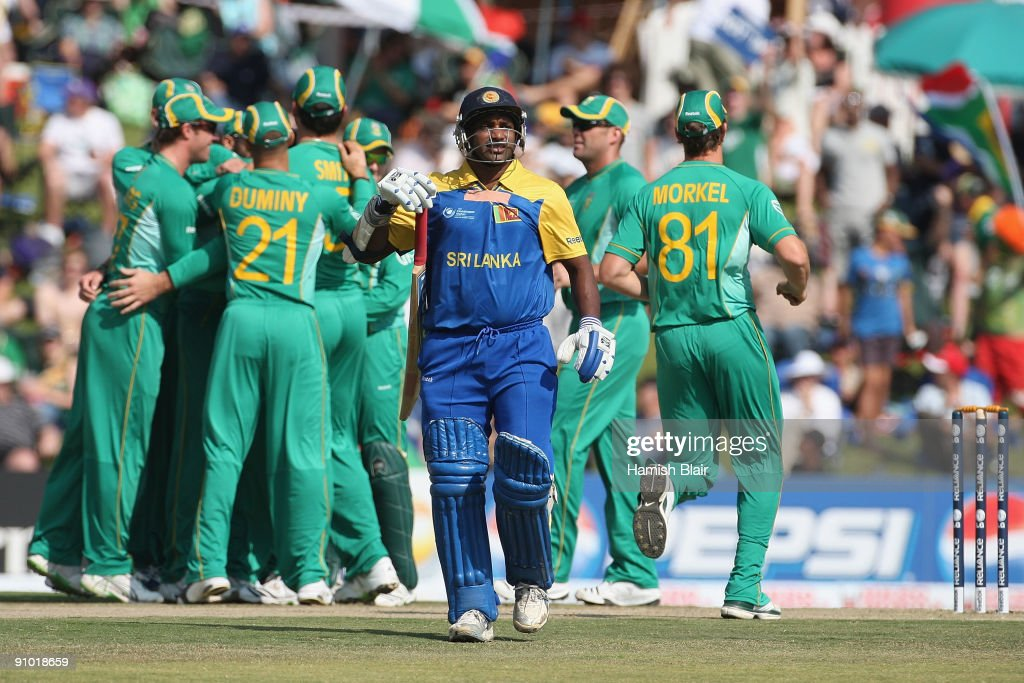 Sanath Jayasuriya of Sri Lanka leaves the field after being dismissed during the ICC Champions Trophy Group B match between South Africa and Sri...