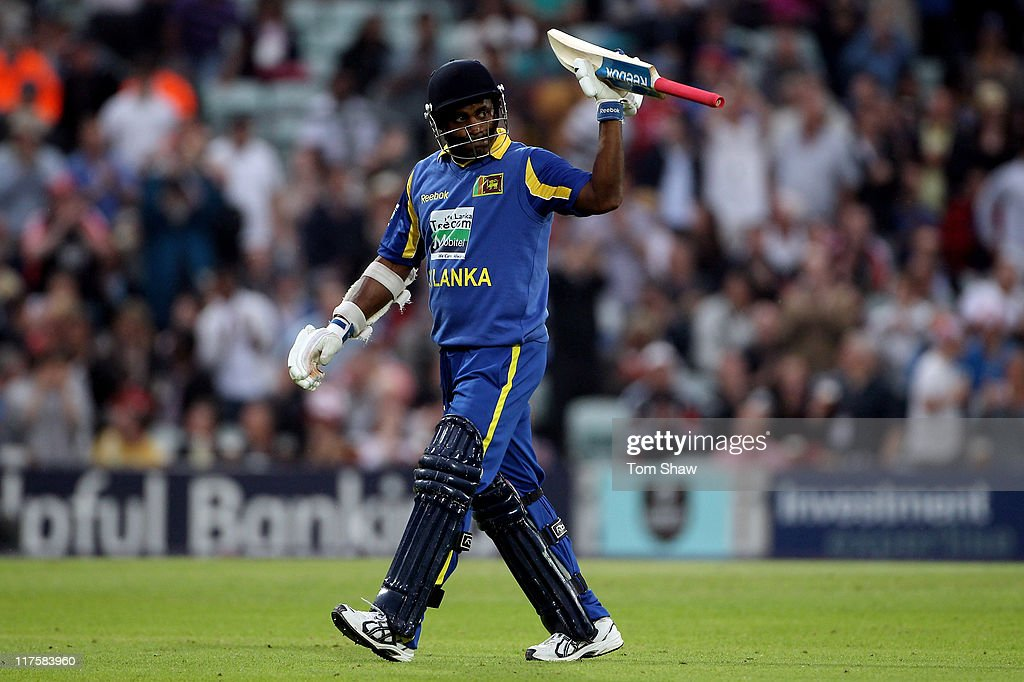 <a gi-track='captionPersonalityLinkClicked' href=/galleries/search?phrase=Sanath+Jayasuriya&family=editorial&specificpeople=206914 ng-click='$event.stopPropagation()'>Sanath Jayasuriya</a> of Sri Lanka leaves the pitch as he is dismissed during the first Natwest One Day International between England and Sri Lanka at The Kia Oval on June 28, 2011 in London, United Kingdom. Today will be Jayasuriyas final match for Sri Lanka.