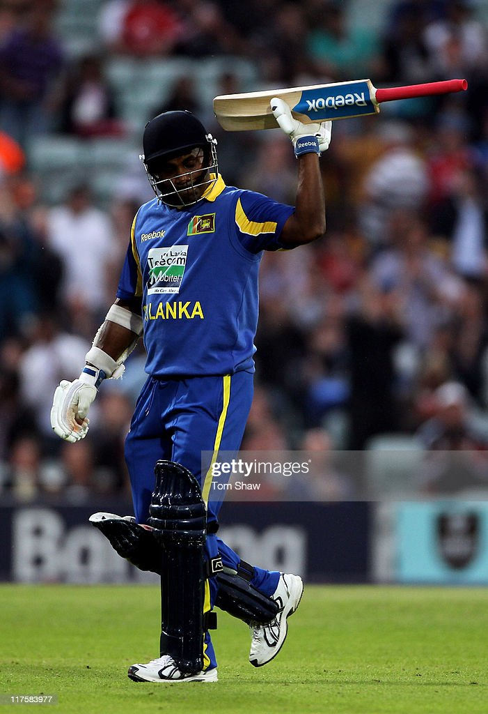 Sanath Jayasuriya of Sri Lanka leaves the pitch as he is dismissed during the first Natwest One Day International between England and Sri Lanka at...