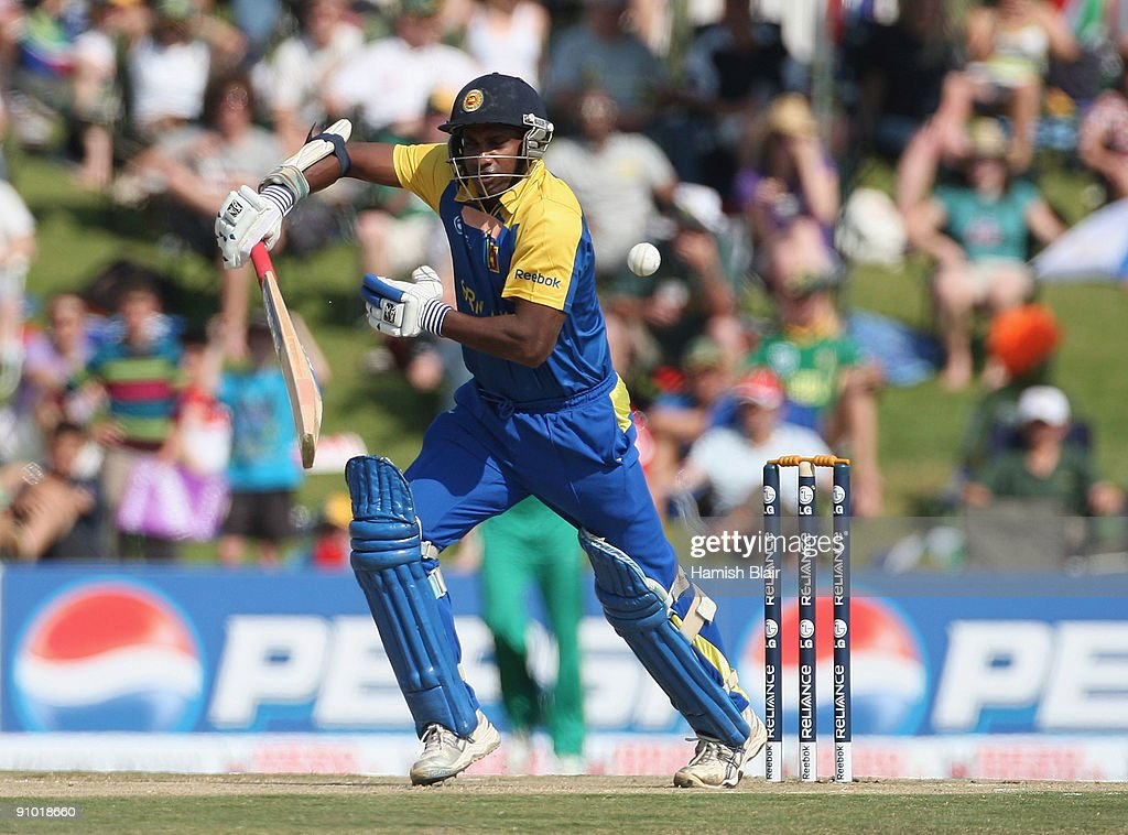 Sanath Jayasuriya of Sri Lanka plays into the off side during the ICC Champions Trophy Group B match between South Africa and Sri Lanka played at...