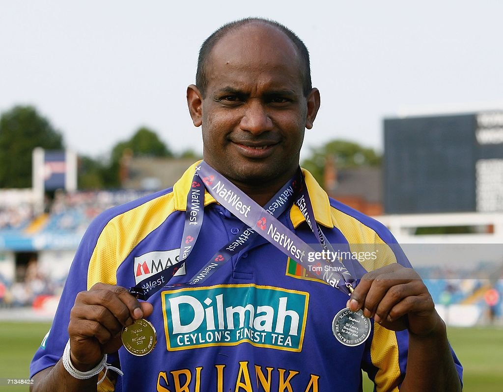 Sanath Jayasuriya of Sri Lanka with his Man of the Match and Man of the Series medals during the 5th NatWest One Day International match between...