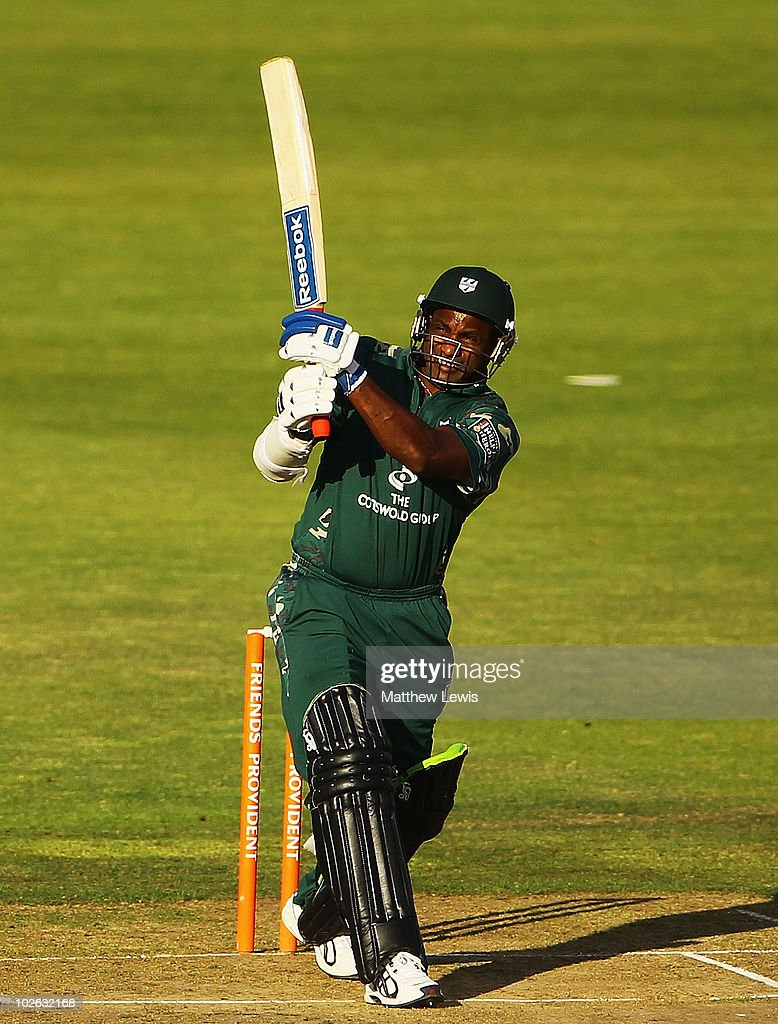 Sanath Jayasuriya of Worcestershire hits a six during the Friends Provident T20 match between Lancashire and Worcestershire at Old Trafford on July 5...